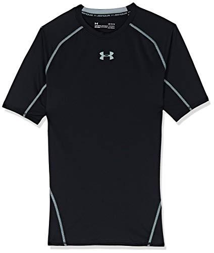 Under Armour UA HeatGear Short Sleeve, Maglietta Uomo, Nero (Black/Steel (001), L
