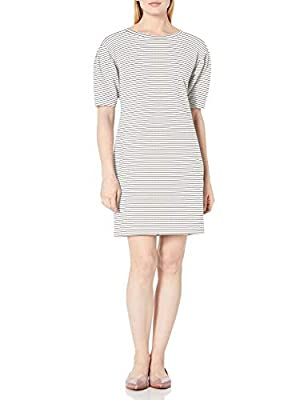 This relaxed fit versatile sweatshirt dress features boat neckline and pleated sleevet for a easy and chic style that transitions easily from day to night Terry cotton and the softest modal are blended to create the perfect rib-knit blend Model is 5'...