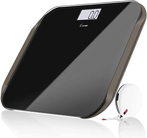 Enther Digital Weight Scale Bathroom Scale for Body Weight with Step-on Technology 4 High Precision Sensors Tempered Glass Large Backlit LCD Display Body Tape Measure Included 400lb/180kg/28st