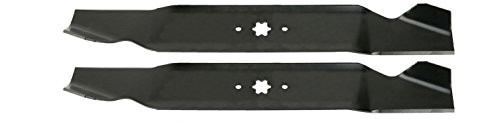 USA Mower Blades (2 MTD616SBP Standard High Lift for Windsor 50-3945 50-3950 Length 21-3/16in. Width 3in. Thickness .150in. Center Hole 6 Point Star 42in. Deck
