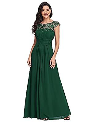 """Padded enough for """"no bra"""" option Sexy open back and ruched bust design Lacey neckline decorated with rhinestones enhances the elegance of this dress Perfect as bridesmaid dresses, wedding guest dresses, evening dresses, ball gowns, prom party dresse..."""
