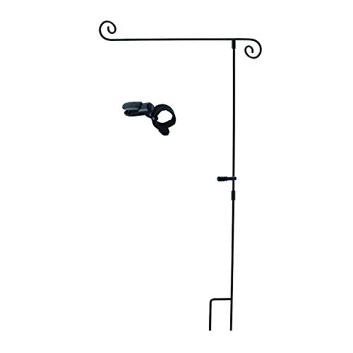 AVOIN Scrolled 3 Piece Construction Garden Flag Pole with Anti-Wind Clip, Easy to Install Garden Stand Holder for Yard Outdoor Decoration 16 x 35 Inch