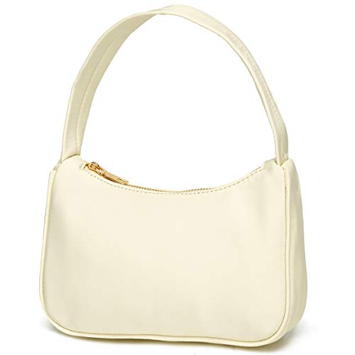 3196g13fQ3L 【Superior Nylon Materials】This small clutch shoulder bag made of advanced nylon fabric, material of this ladies mini shoulder handbag is durable and can be waterproof. 【Perfect Size for Women】9.5'' * 5.1'' * 2.6'', a slim, simple and small handbag of retro style with a short strap that fits any casual or formal dress. 【Strong & Wide Handle Strap】 Shoulder drop: 7.9''. The shoulder strap is firmly fixed and will not break; it can be used as a top-handle handbag or small shoulder purse.