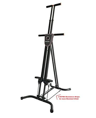 Vertical Climber Cardio Exercise X-Factor with monitor and resistance straps for smooth climbing