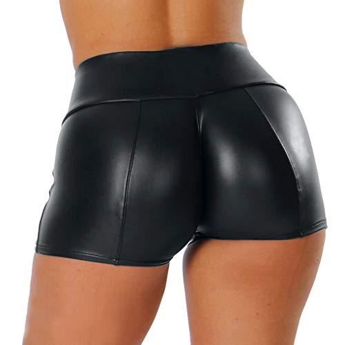 Dorical Damen Kunstleder Hohe Taille Shorts, Schwarz Sexy Hotpants Kostüm Basic Pants Leggings Kunstleder-Optik Kurze Hose(Schwarz,X-Large)