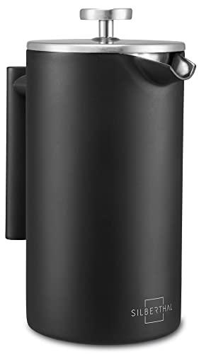 SILBERTHAL Cafetera émbolo individual acero inoxidable   French press 1 litro Cafetera francesa   Cafetera de piston   Cafetera infusión con filtro permanente para café negra