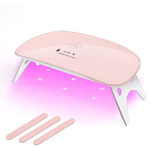 Nail Dryer UV LED Nail lamp Mini Gel Nail Lamp Portabel Curing Light for Gel Nail Polish,12w(Pink)