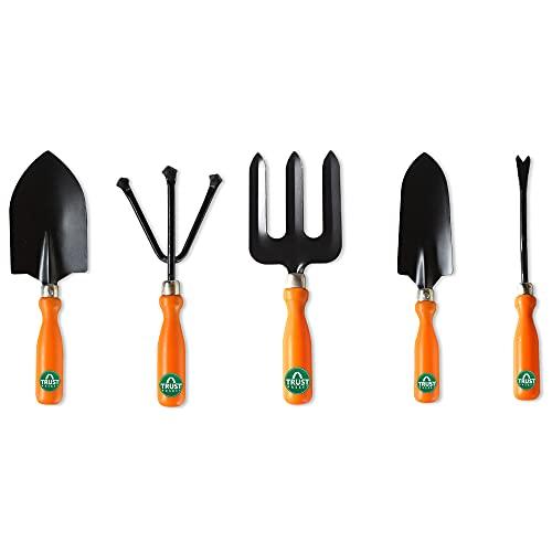 TrustBasket 5Pcs Durable Gardening Hand Tool Kit for Home Gardening (Weeder, Big Trowel, Hand...