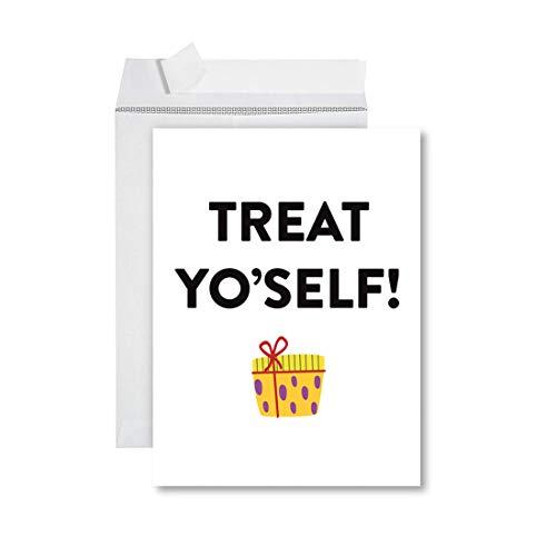 Andaz Press Funny Jumbo Birthday Card With Envelope 8.5 x 11 inch, Greeting Card, Treat Yo'Self