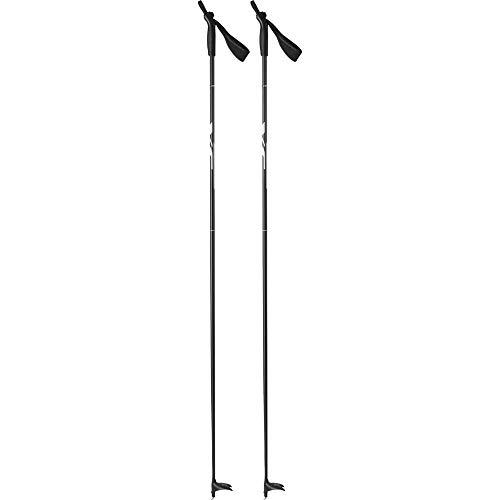 Tecno Pro Erwachsenen Langlaufstock Langlauf-Stock Active Alu XC schwarz grau, Länge:155