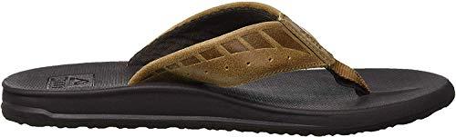 Reef Men's Sandals Phantom Leather | Athletic Flip Flops for Men with Contoured Footbed | Waterproof | Brown/Tan | Size 10