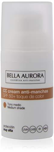 Bella Aurora Crema Facial con Color SPF 50+ | CC Cream | Protector Solar Anti-Manchas | Piel Normal o Seca, Tono Medio, 30 ml