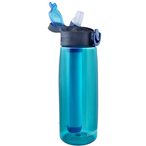 mountop Portable Water Filter Bottle - Emergency Water Filtered Bottle with 2-Stage Integrated Filter Straw for Hiking Backpacking and Travel BPA Free 22oz Cyan
