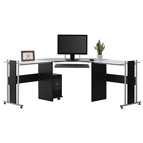 HOMCOM 69' Modern L-Shaped Tempered Glass Office Computer Desk with Elevated Monitor Stand, Rolling CPU Holder, Pull Out Keyboard Tray and Steel Frame, Black