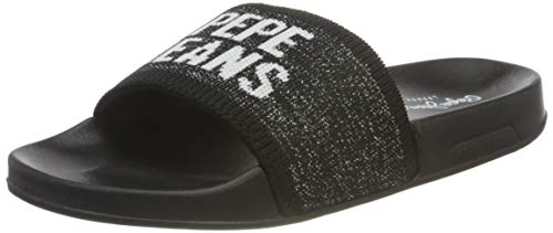 Pepe Jeans Slider Knit, Sandalia. Mujer, 999 Negro, 38 EU