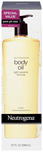 Neutrogena Lightweight Body Oil for Dry Skin, Sheer Moisturizer in Light Sesame Formula, 32 fl. oz