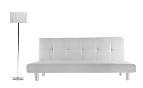Bagno Italia Divano Letto 3 posti 180x80 Ecopelle Bianco Stile Moderno reclinabile da Soggiorno...