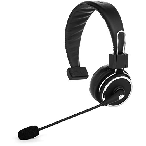 Blue Tiger Elite Premium Wireless Bluetooth Headset - Professional Truckers' Noise Cancellation Head Set with Microphone - Clear Sound, Long Battery Life, No Wires - 34 Hour Talk Time - Black