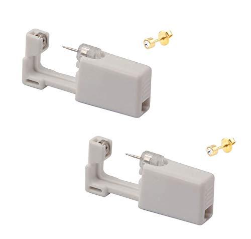 KISEER 2 Pcs Disposable Self Ear Piercing Gun Safety Sterile Earing Nose Piercing Gun Kit Tool With Stud (Gold)