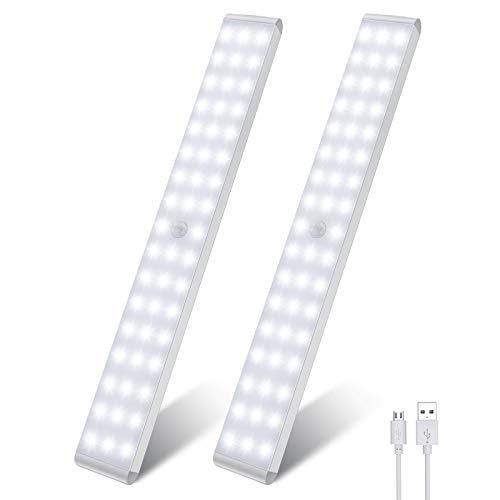 Luci notturne con sensore di movimento per interni 50 LED, luci a led con sensore di movimento intelligente LED luci da cucina luce morbida per armadio, corridoio, scale (2 pezzi)