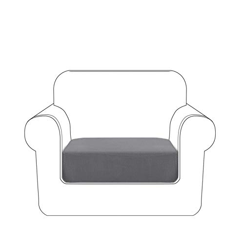 Granbest Premium Idrorepellente Copriseduta Divano Elasticizzato 1/2/3 Posti, Copri Cuscino per Divano in Tessuto Jacquard (1 Posto, Grigio Cielo)