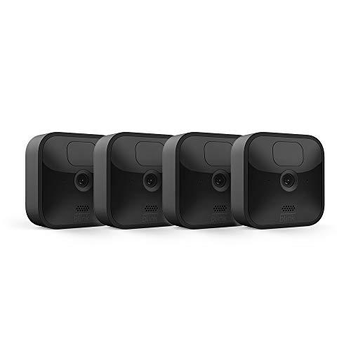 Blink Outdoor, Videocamera di sicurezza in HD, senza fili, resistente alle intemperie, batteria autonomia 2 anni, rilevazione movimento | 4 videocamere