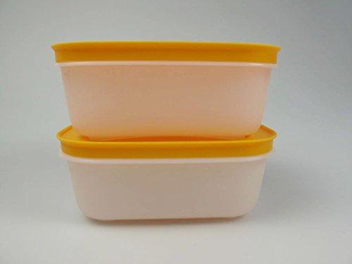 TUPPERWARE - Contenitore per congelatore, 450 ml, colore: bianco/arancione, 2 pezzi, 15476