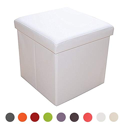 Style home Sitzbank Sitzhocker Aufbewahrungsbox mit Stauraum faltbar belastbar bis 300 kg, Kunstleder, 38 x 38 x 38 cm (Weiß)