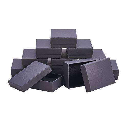 NBEADS 60PCS Jewelry Set scatole di Cartone, per collane, Orecchini e Anelli, rettangolo, Nero, 9x...