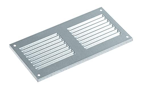 Griglia di ventilazione zincata, 200 x 100 mm, in metallo, griglia di ventilazione con zanzariera