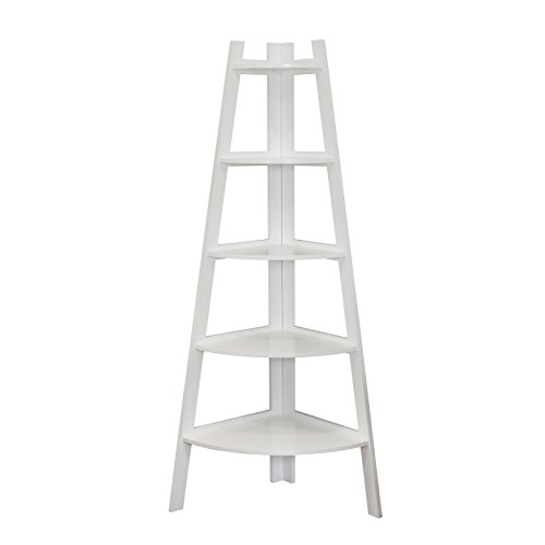 7. Danya B Five Tier Corner Ladder White Display Bookshelf