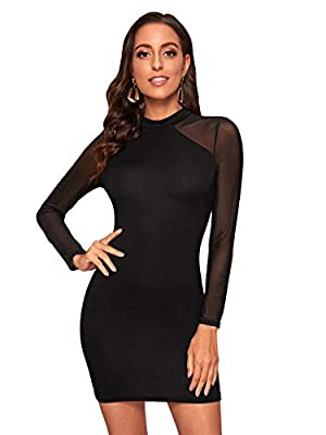 Size: Please refer to the size chart as below(not amazon size) Fabric: Some stretch, breathable and lightweight, this dress made of soft material, it is very comfortable to wear Design: Mesh, sheer, mock keck, raglan sleeve, slim fit, high waist, sol...