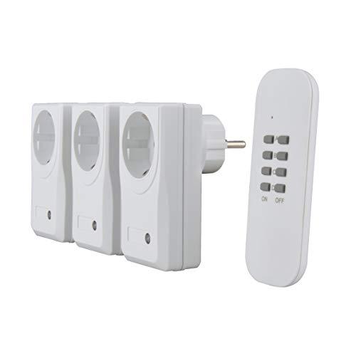 UNITEC Funkfernschalterset, Funksteckdosen, 3 Steckdosen + 1 Fernbedienung, weiß