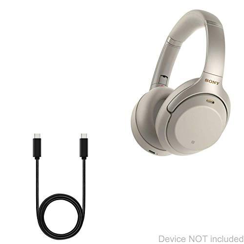 Cabo Sony WH-1000XM3, BoxWave [Cabo DirectSync PD (90 cm) - USB-C para USB-C (100 W)] Cabo de carregamento e sincronização trançado de 0,9 m para Sony WH-1000XM3 - Preto Jet