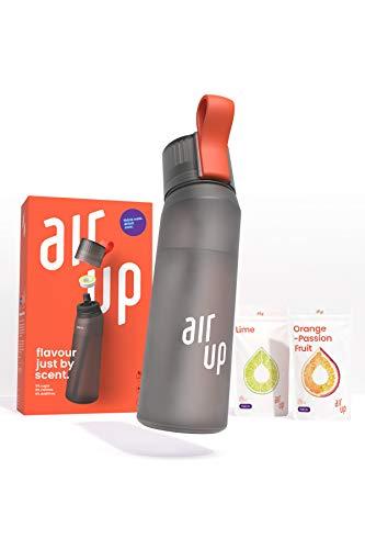 air up® Starter-Set - 1 x Trinkflasche BPA-freies Tritan 650 ml 2 x Pods Geschmack Limette & Orange-Maracuja - Für Aromatisiertes Wasser 0 Zucker 0 Kalorien – Anthrazit