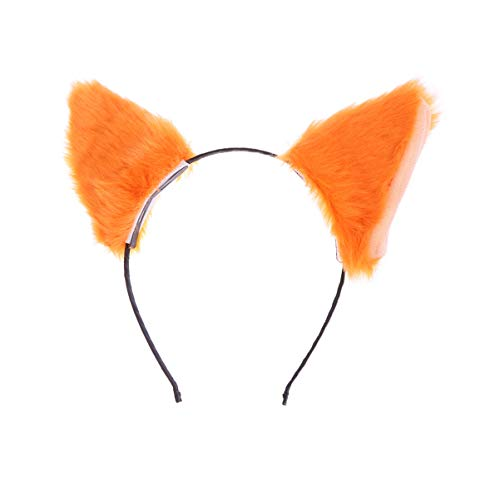 Pixnor orelhas de gato headband de pelãºcia fox ear hair hoop headband halloween hairband cosplay cocar para as mulheres meninas festa laranja