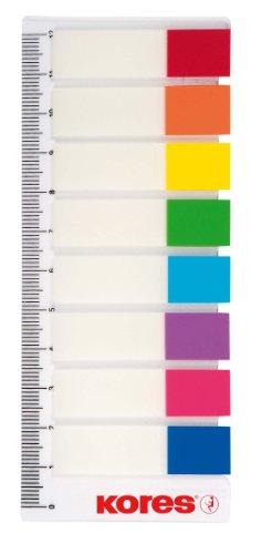 Kores 45121Pagemarker - Folie, 12 x 45 mm, 8 x 15 Blatt (Inhalt 120 Stück + Lineal)