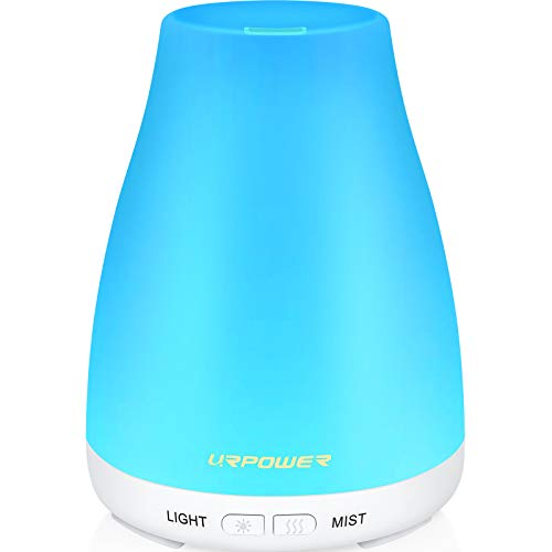 URPOWER 2nd Version Essential Oil Diffuser,Aroma Essential Oil Cool Mist Humidifier with Adjustable Mist Mode,Waterless Auto Shut-Off and 7 Color Lights Changing for Home Office Baby