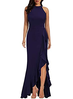 Polyester/Spandex,Fabric is Elasticity,Stretchy,Comfortable A-Line,Bodycon,Wrap Waist,High Waist,Split Mermaid Hem,Ruffle,Solid Color,Long Length, Perfecyly Fit For All The Occasions--Formal, Evening Prom, Party, Wedding, Cocktail, Night Club, Dating...