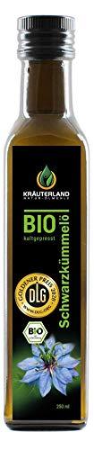 Kräuterland - Bio Schwarzkümmelöl 250ml gefiltert - 100% rein, schonend kaltgepresst, ägyptisch, nigella sativa, vegan - Frischegarantie: täglich mühlenfrisch direkt vom Hersteller