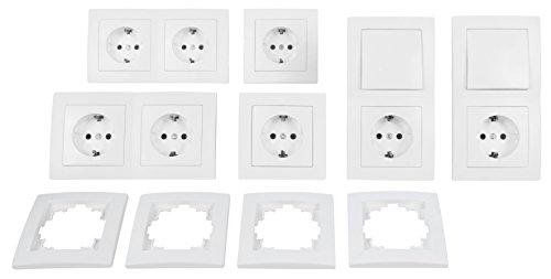 MC POWER Flair - Wand Steckdosen und Schalter Set mit Kindersicherung | Standard | 20-teilig | weiß, matt
