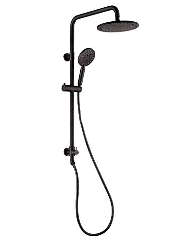 Rain Shower Head with Hose Spray Dual Shower System Handheld Combo Brass Shower Column Adjustable Slider (Oil Rubbed Bronze)