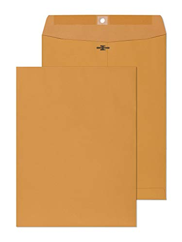 EnDoc 9x12 Clasp Envelopes –5 Pack Brown Kraft Catalog Envelopes with Clasp Closure & Gummed Seal – 28lb Heavyweight Paper Envelopes for Home, Office, Business, Legal or School