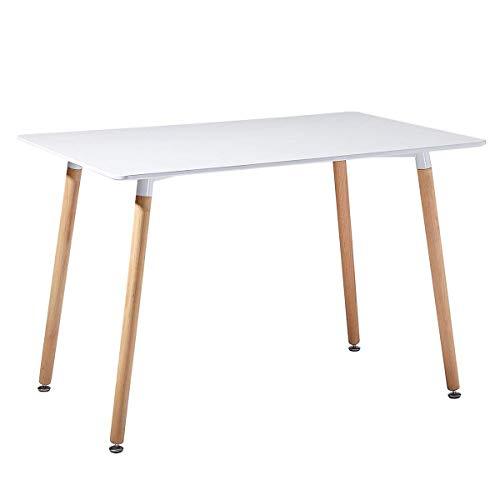 Tavolo Bianco da Pranzo o Ufficio 120X70X72cm con Gambe in Legno