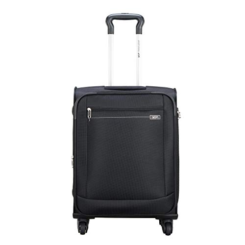 VIP Tide Polyester 56 Cms Black Softsided Cabin Luggage with Corner Guards & Expander
