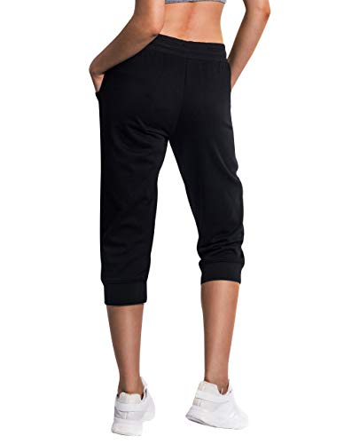 SPECIALMAGIC Women's Sweatpants Cropped Jogger French Terry Running Pants Lounge Loose Fit Drawstring Waist with Side Pockets Black M 2