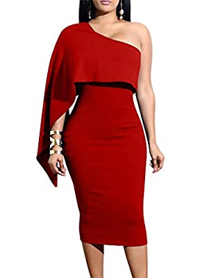 Material:97% polyester and 3% spandex,high stretchy,soft and cozy fabric US Size: S:4-6,M:8-10,L:12-14,XL:16-18 Style:One shoulder,one sleeve,ruffle sleeve,batwing cape top,backless,covering the knee,midi-length,solid color,tight,bodycon,elegant,clas...