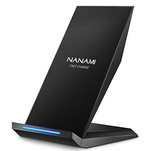 NANAMI Fast Wireless Charger, Qi Ladegerät für iPhone 11 /XS/XS Max/XR/X/ 8/8 Plus, kabelloses Induktive Ladestation Schnellladestation für Samsung Galaxy S20 S10 S10e S9 S8 Plus S7 Edge Note 10/9 usw