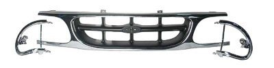 New Front Grille For 1995-2001 Ford Explorer, Explorer Eddie Bauer, Includes Extensions, Single Center Bar, XL/XLT/Eddie Bauer, Chrome/Painted Silver FO1200374