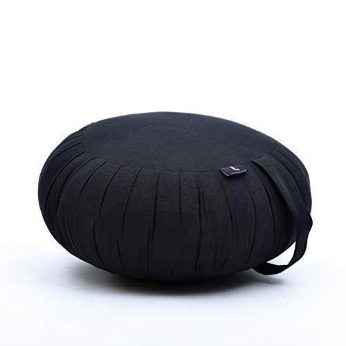 Leewadee Cuscino da Meditazione Zafu: guanciale Rotondo thailandese, Seduta in kapok Naturale e Organico Fatto a Mano, 40 x 20 cm, Nero